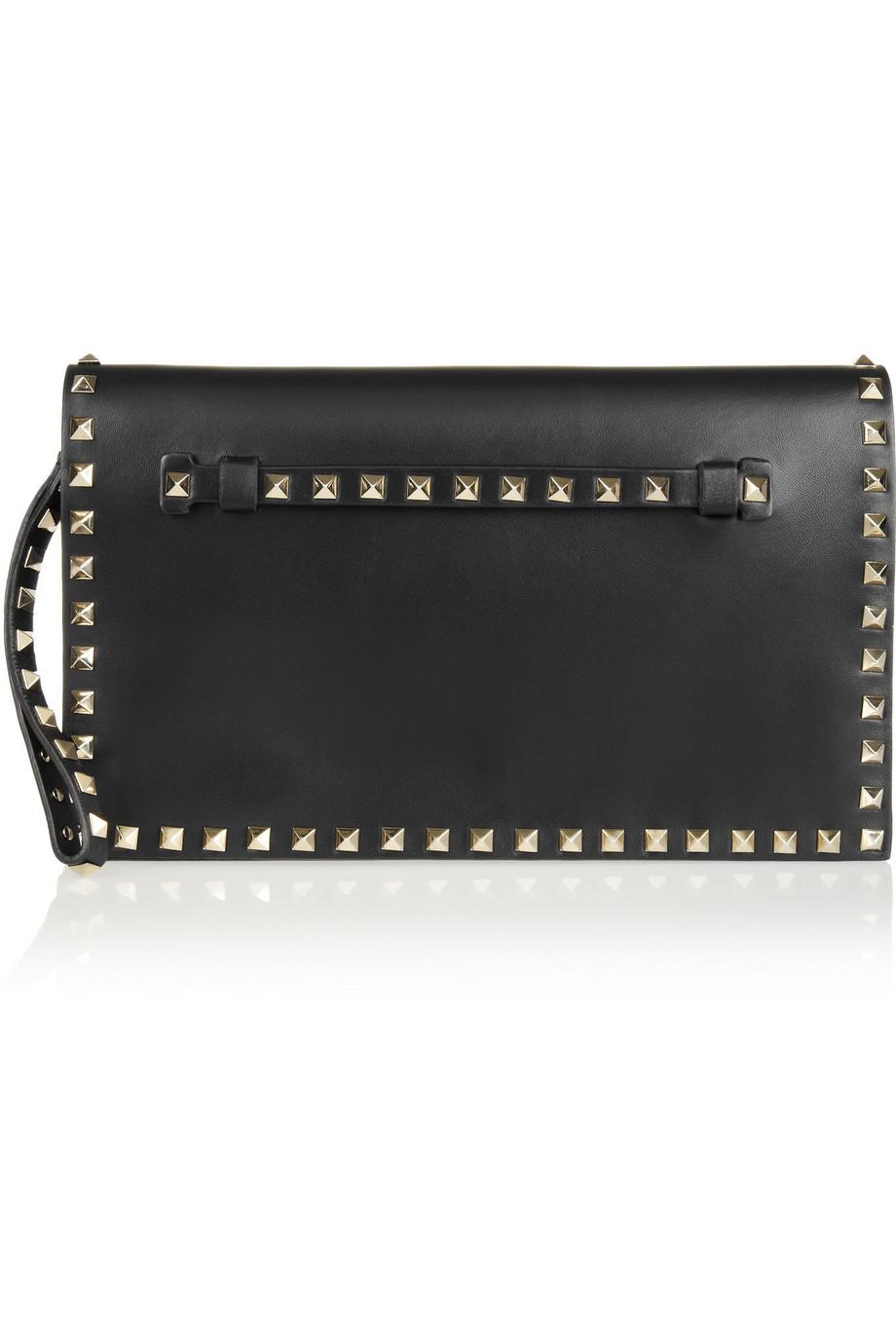 Valentino The Rockstud Leather Clutch, Black, Women's