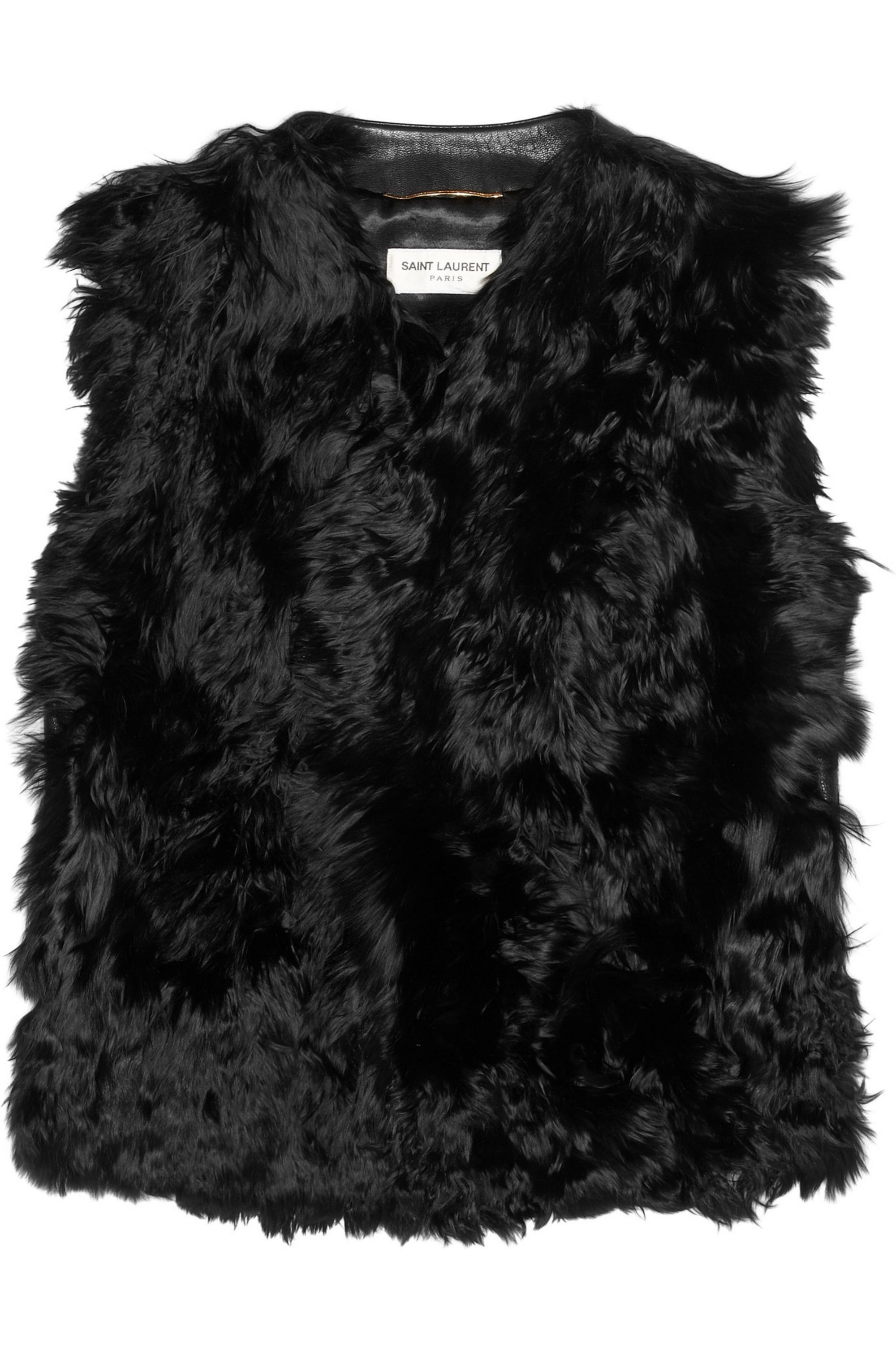 SAINT LAURENT Shearling and textured-leather gilet