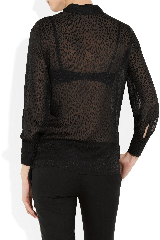 SAINT LAURENT Devoré chiffon pussy-bow blouse