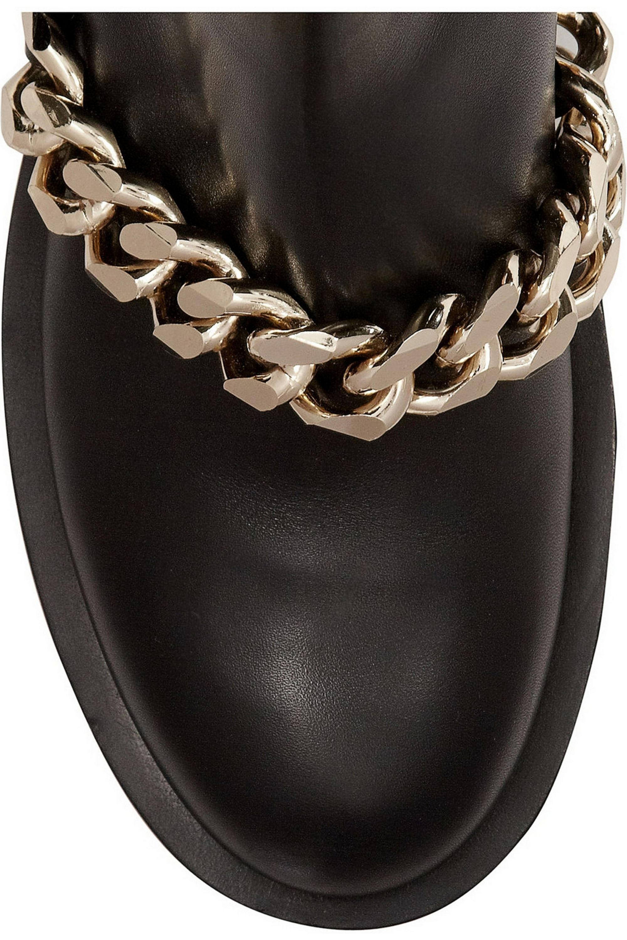 Givenchy Ankle boots with gold metal chain in black leather