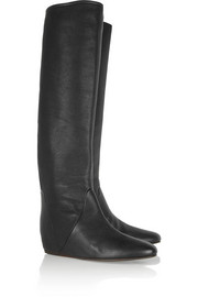 Lanvin Textured-leather knee boots