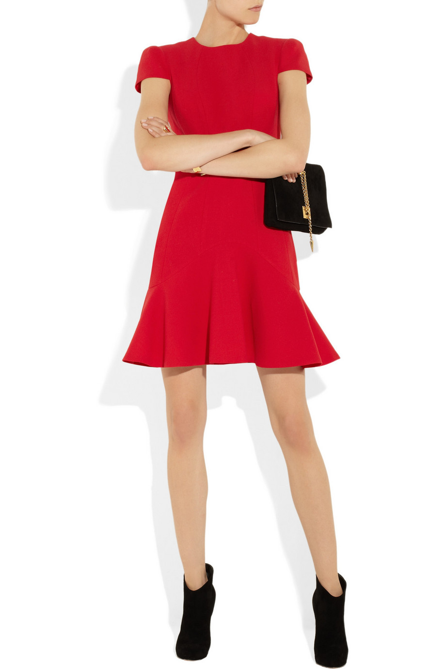 Alexander McQueen Wool-crepe Red Dress | Day to Night Dresses for Fall