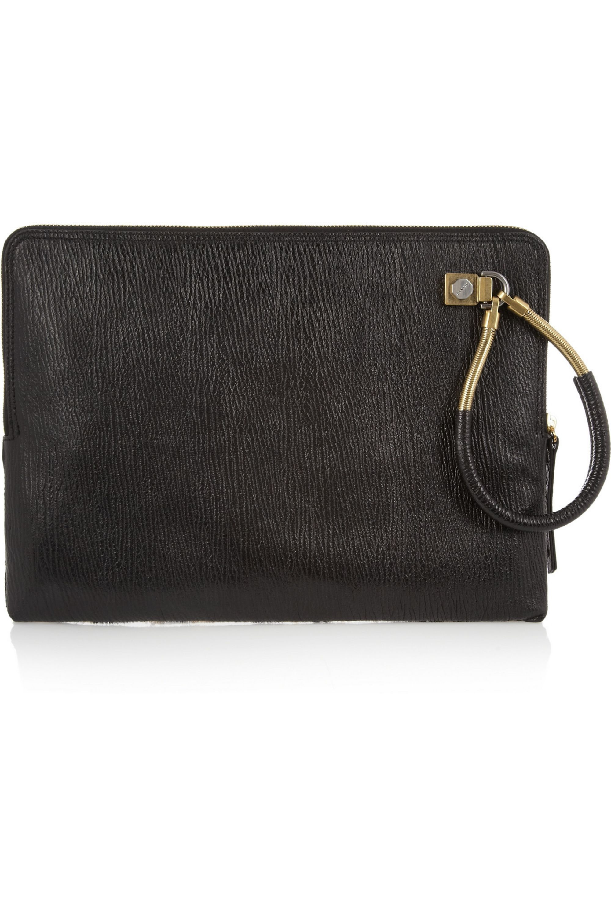 Lanvin Leopard-print calf hair and textured-leather clutch
