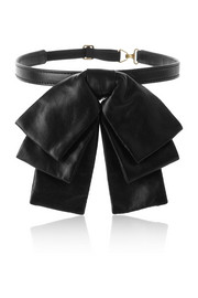 Bow leather collar