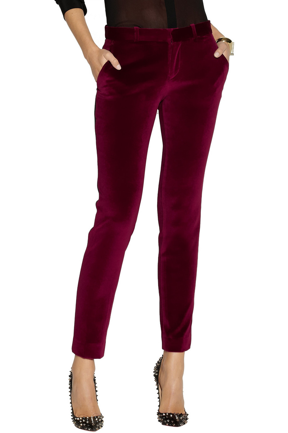 EACH X OTHER Satin-trimmed Velvet Tuxedo Pants | Fancy Friday - Fancy Pants Holiday Pieces