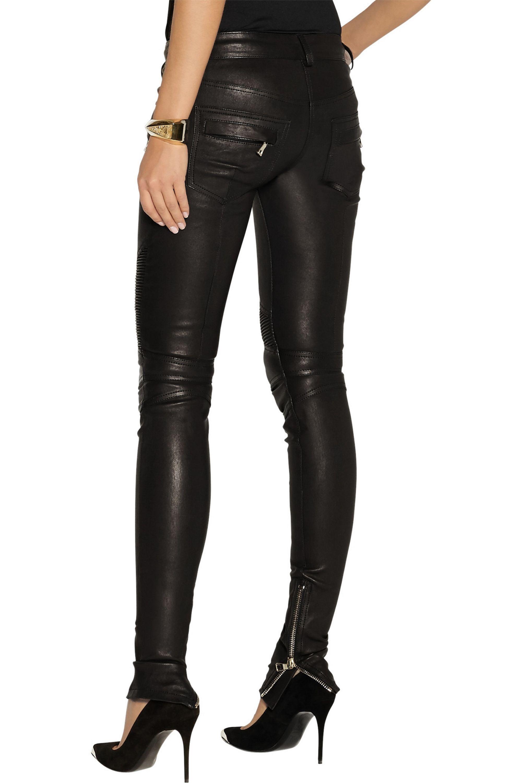 Balmain Leather motocross-style skinny pants