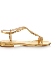 Intrecciato metallic leather sandals