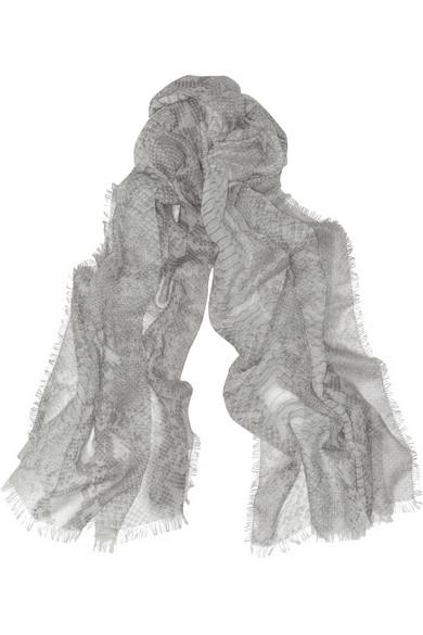 Stella McCartney. Écharpe en laine, soie et cachemire mélangés à imprimé  python 3d8ee23dd71