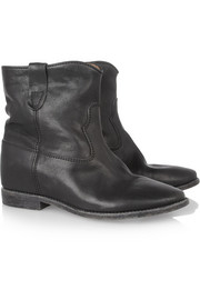 Isabel Marant Cluster leather concealed wedge biker boots