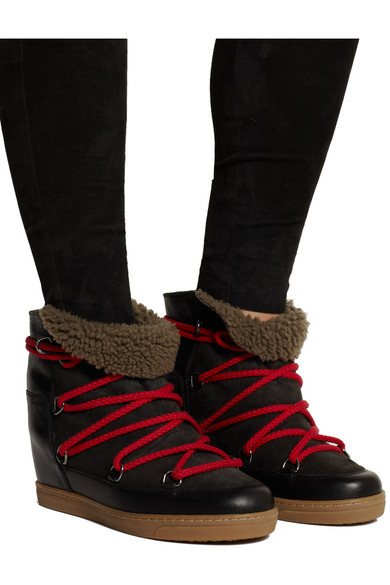 entire collection exclusive deals superior quality Nowles shearling-lined leather concealed wedge boots