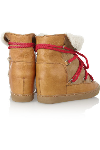 4c533137cfa Isabel Marant | Nowles shearling-lined leather concealed wedge boots ...