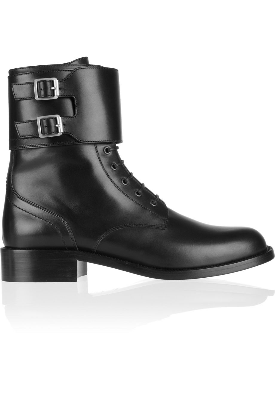 Patti leather army boots by SAINT LAURENT, available on net-a-porter.com for $897 Alessandra Ambrosio Shoes Exact Product
