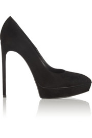Saint Laurent Janis suede platform pumps