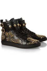 Versace Studded leather high-top sneakers