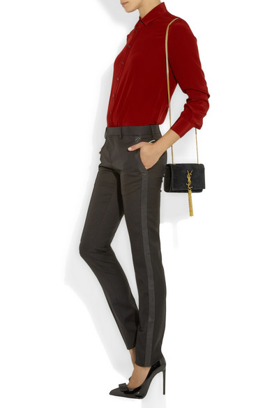Saint Laurent | Cassandre small suede shoulder bag | NET-A-PORTER.COM