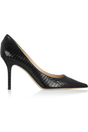 Jimmy Choo Agnes glossed-elaphe pumps
