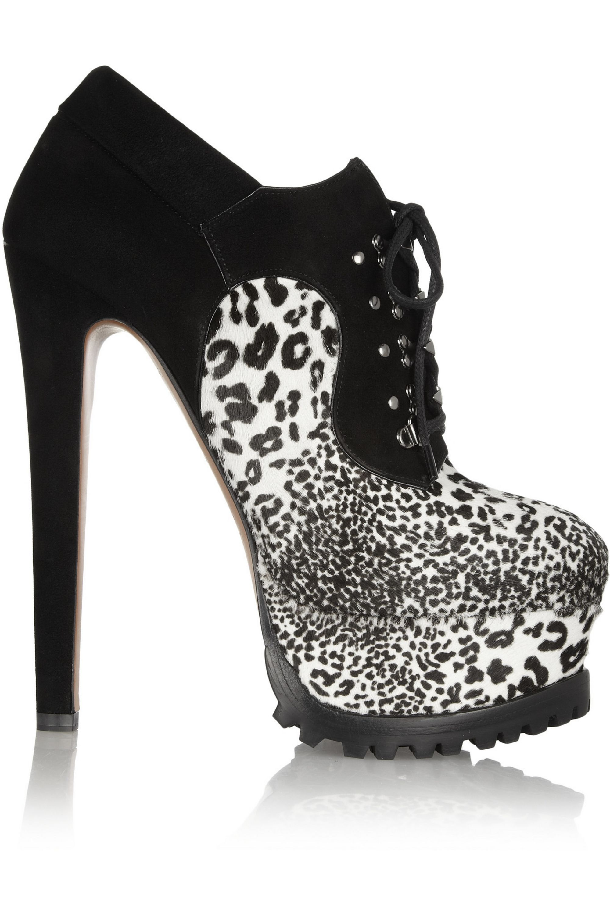 Alaïa Animal-print calf hair and suede ankle boots