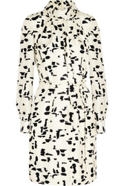 Printed silk-twill dress