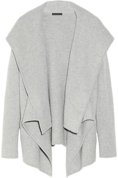 Donna Karan New York. Hooded fine-knit cashmere cardigan