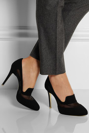 Stella McCartney Faux suede and mesh pumps