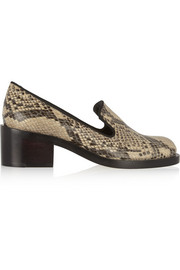 Snake-effect faux leather loafers