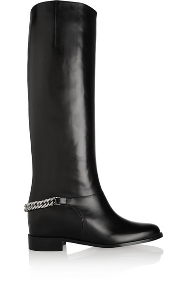 d836da3ed0b Cate chain-trimmed leather riding boots