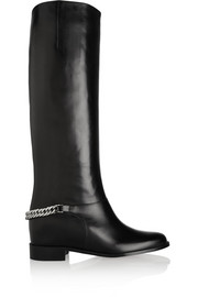 Cate chain-trimmed leather riding boots