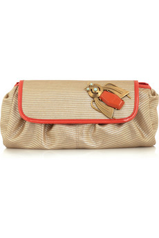 Stella McCartney Metallic linen clutch
