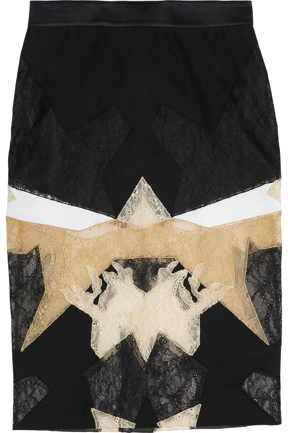 Givenchy Black, White and Beige Patchwork Lace Skirt, Size: 36