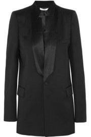 Black light wool jacket with satin details