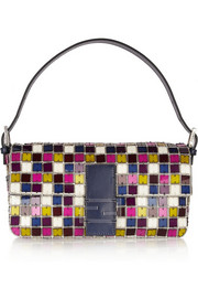 Baguette crystal and Perspex shoulder bag