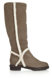 Fendi Shearling-trimmed suede knee boots
