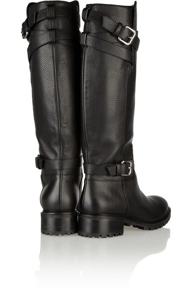 b002a7b13cd Leather knee biker boots