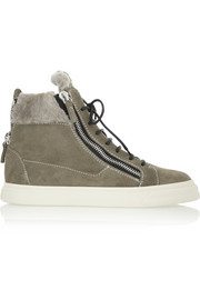 London shearling-lined suede high-top sneakers