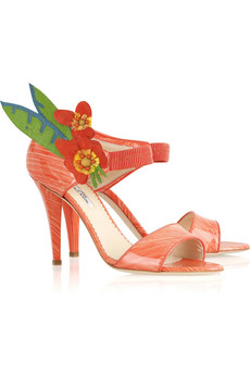 Oscar de la RentaAppliqué patent sandals