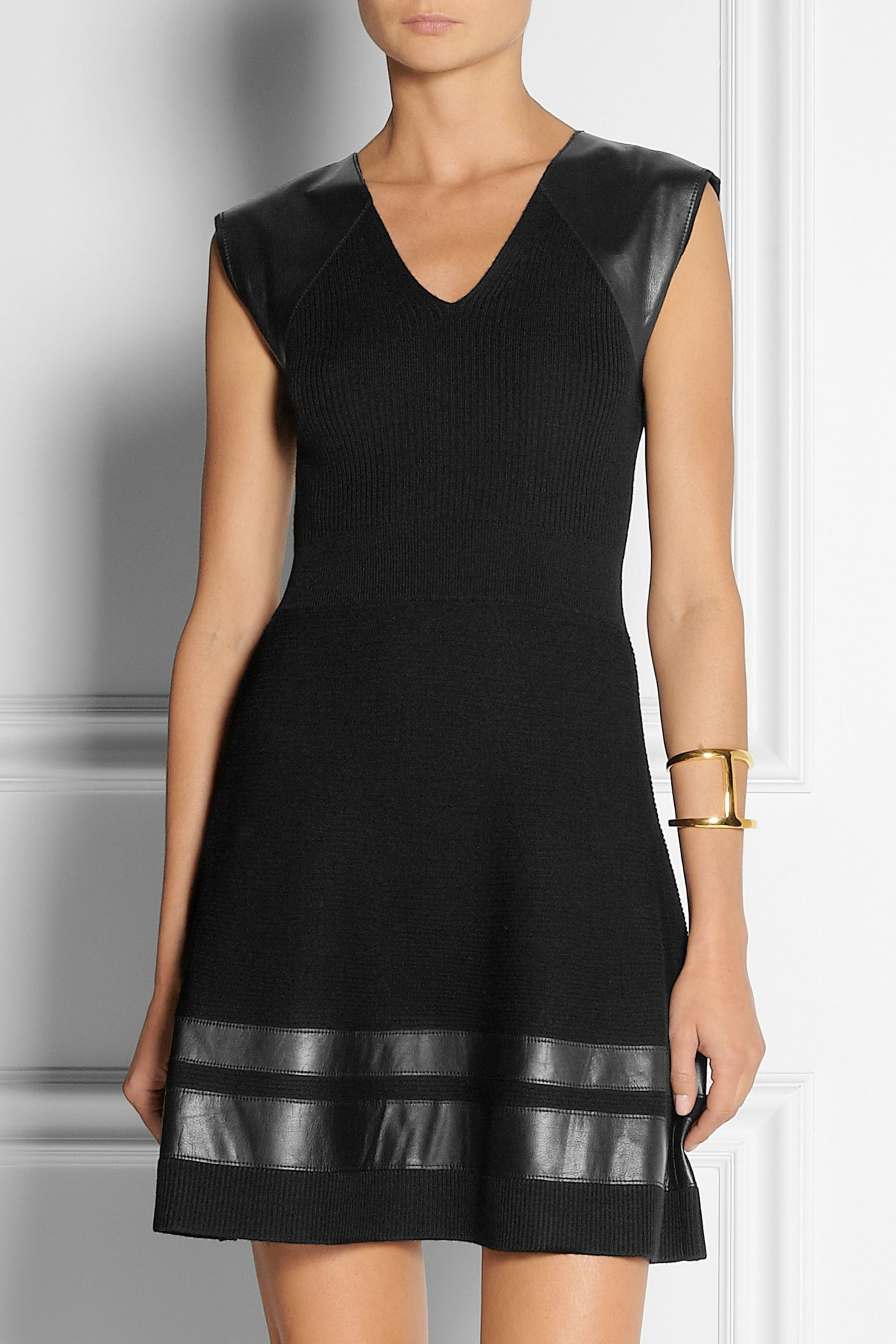 Thakoon Leather-trimmed ribbed wool dress