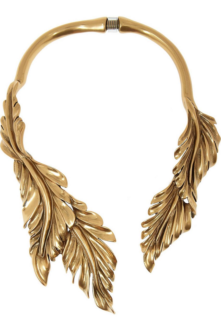 Oscar de la Renta - Collier feuilles en plaqué or