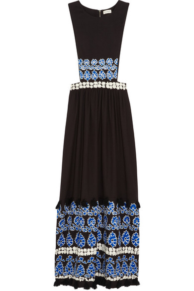 Suno Embroidered Cotton Crepe Maxi Dress