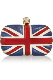 Alexander McQueen The Britannia Skull leather box clutch