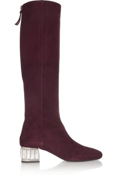 235d533aaef Miu Miu. Crystal-embellished suede knee boots