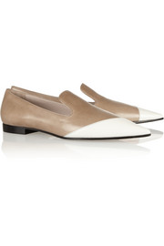Miu Miu Two-tone polished-leather loafers