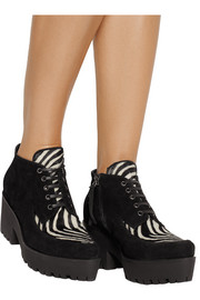 Suede and zebra-print calf hair lace-ups
