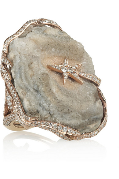 Sale alerts for Galaxy 18-karat rose gold, diamond and crystallized agate ring Lydia Courteille - Covvet