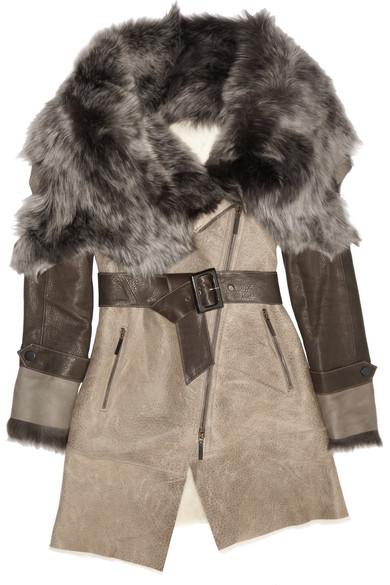 Sale alerts for Belted shearling-trimmed leather coat Karl Donoghue - Covvet