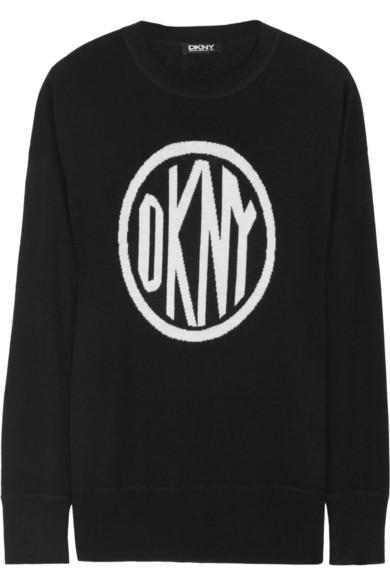 Dkny logo knitted intarsia sweater net a porter com for Net a porter logo