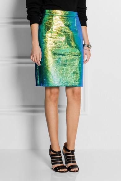 various design authentic cheap prices Jupe en cuir holographique à effet reptile Edith