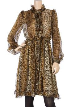 D&G Dolce & GabbanaSilk animal print dress