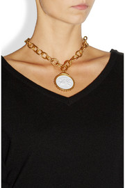 Bottega Veneta Gold-plated, porcelain and glass stone necklace