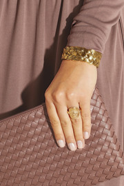 Bottega Veneta Gold-plated cubic zirconia cherub ring