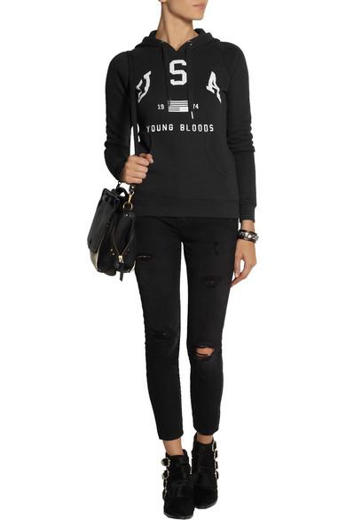 Zoe karssen usa cotton blend jersey hooded sweatshirt for Net a porter usa
